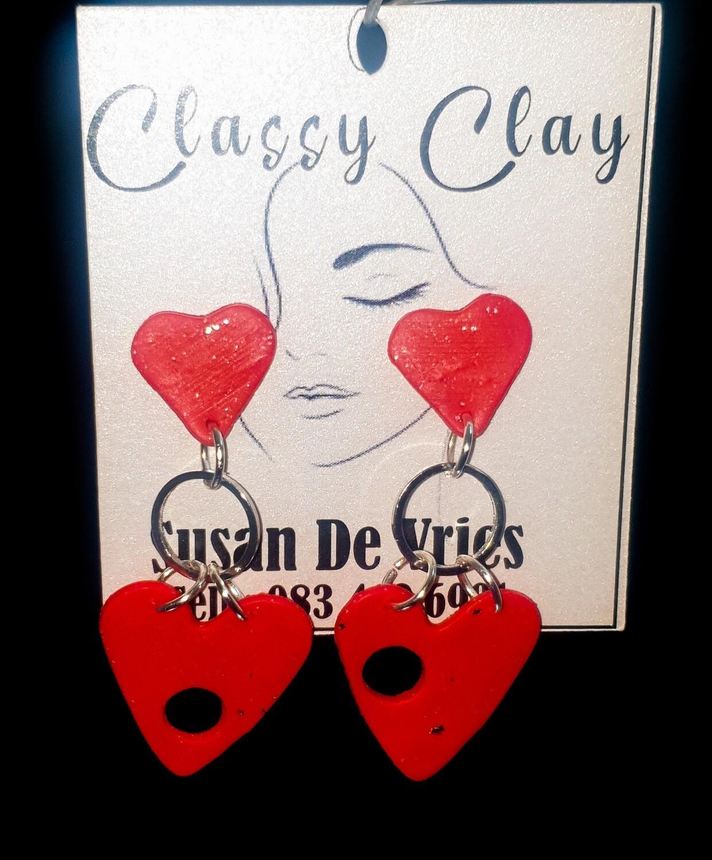 Red broken hearts hanging earrings