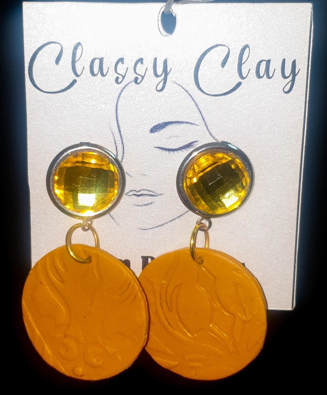 Gold & mustard dangle earrings