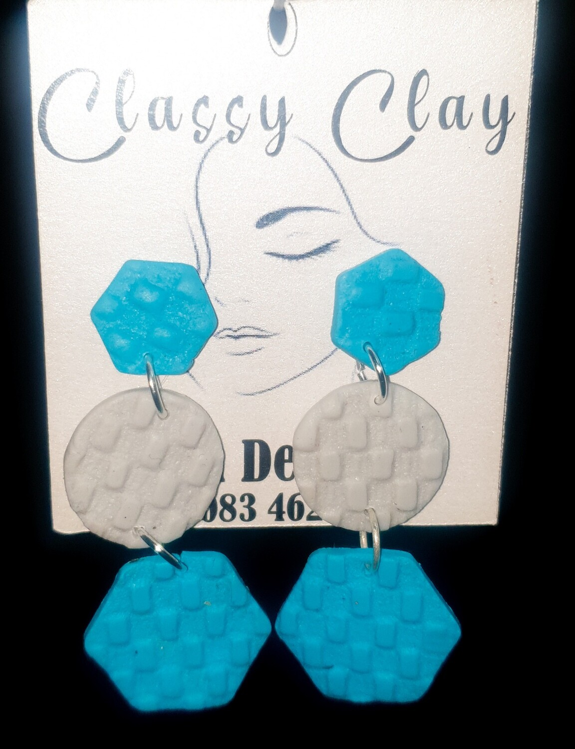 Light Blue and Grey hexagon hanging earrings