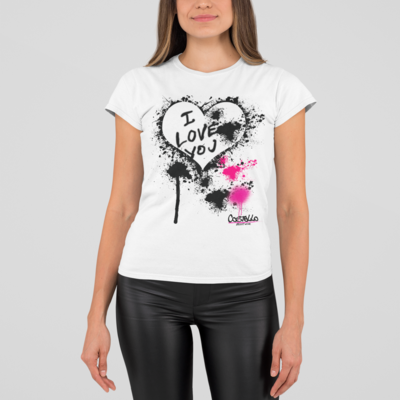 I LV You - Womens Rolled Sleeve Recycled t-shirt White Original