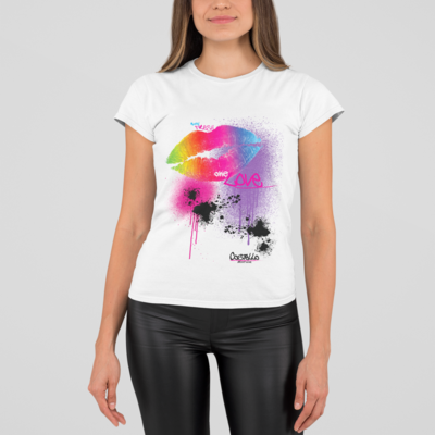 Rainbow Lips - Womens Rolled Sleeve Recycled t-shirt White Original