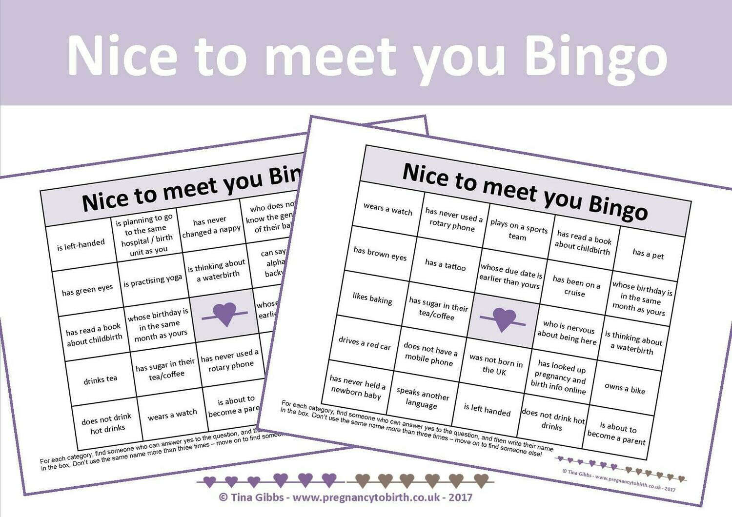 Nice to meet you Bingo - A first session mixer/icebreaker (print-your-own)