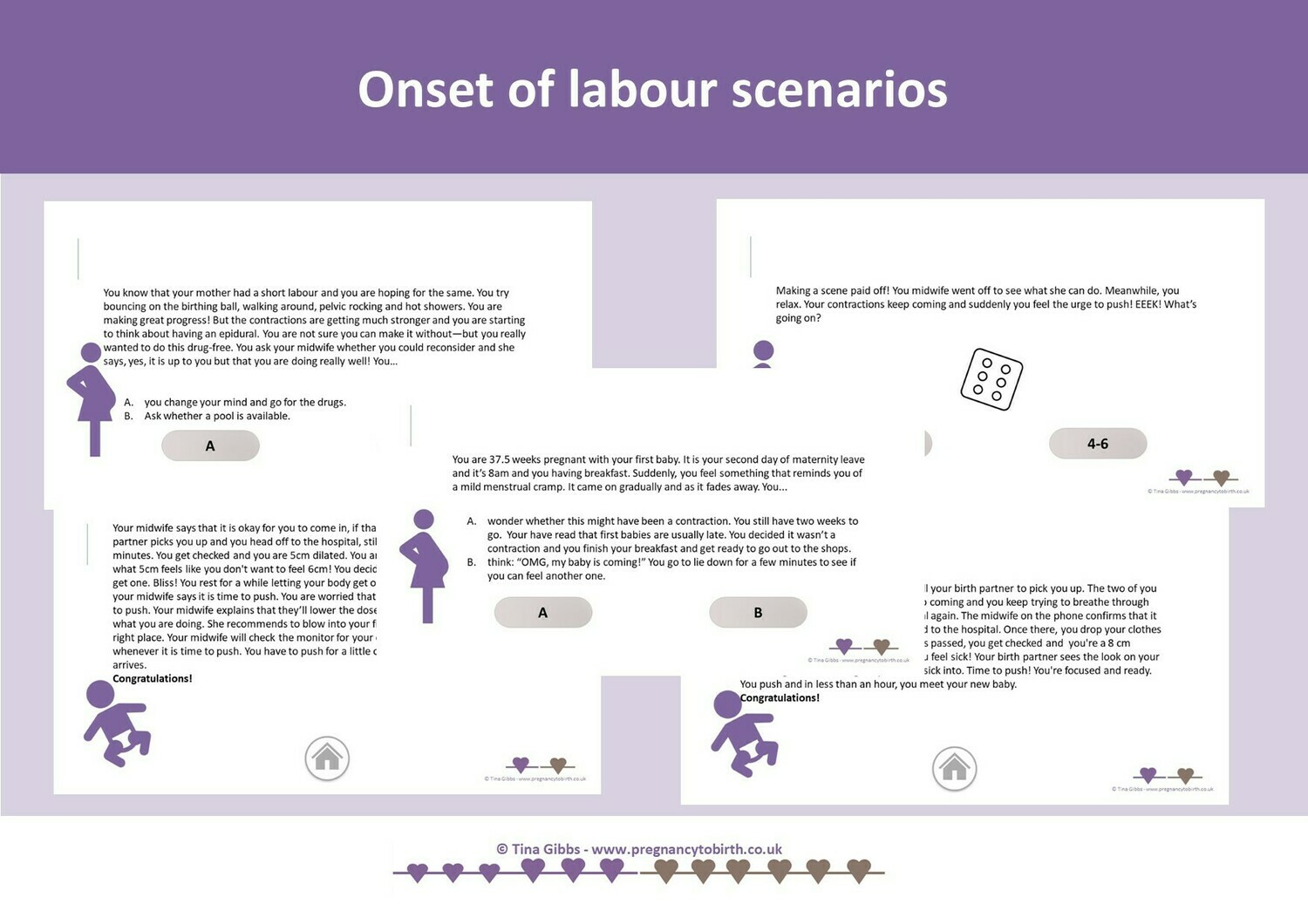 Onset of labour to birth scenarios -  playable pdf decision game