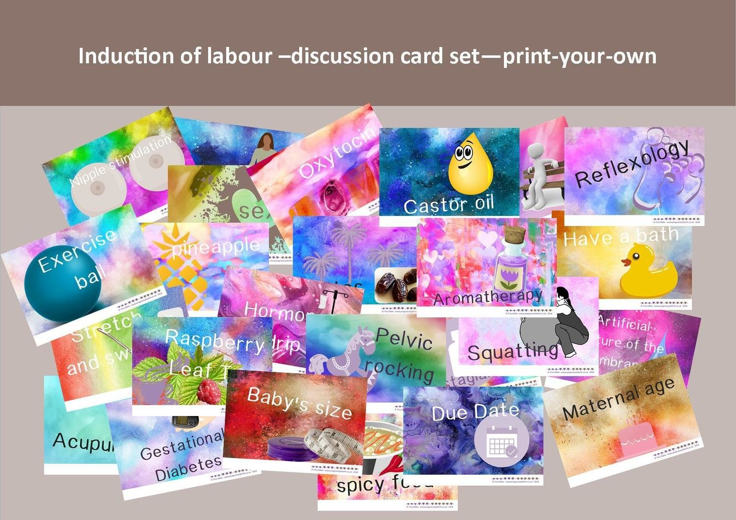 Induction of labour - Print-your-own pdf card set