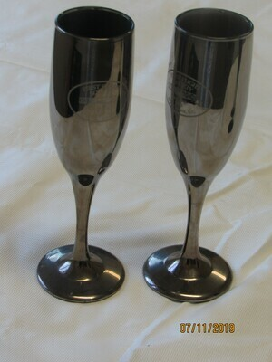 First Flight Society Champagne Glasses, Pewter