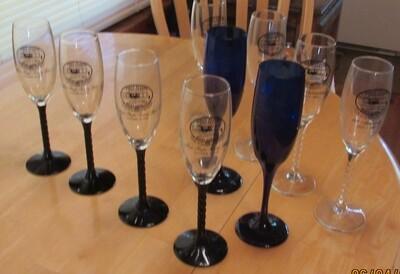First Flight Society Champagne Glasses-Black Stem