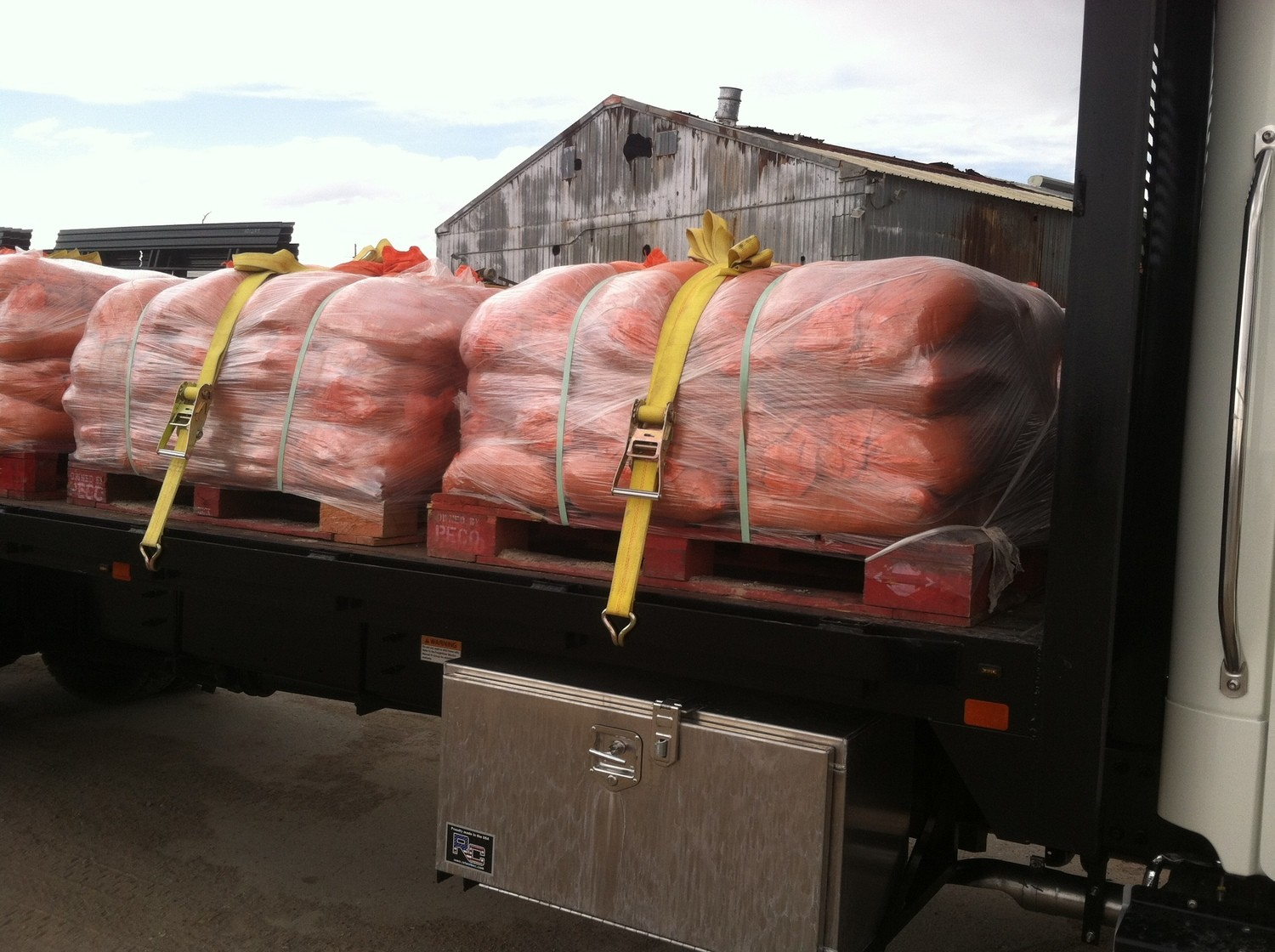 Filled poly bags, 30-35 lbs, $3.35 each   four colors   $250.00 pallet (75 count)  - delivery extra