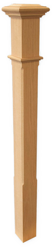 "Box Newel 3-1/2"" Chamfered - Maple"