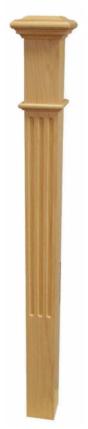 "Box Newel 3-1/2"" Fluted - Oak"