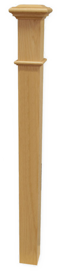 "Box Newel 3-1/2"" Beaded - Oak"
