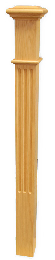 "Box Newel 3-1/2"" Fluted - Maple"