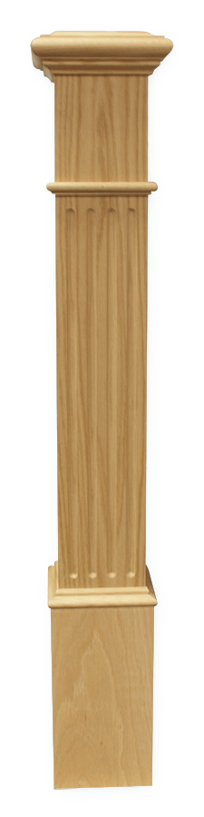 "Box Newel 4-1/2"" Fluted - Oak"