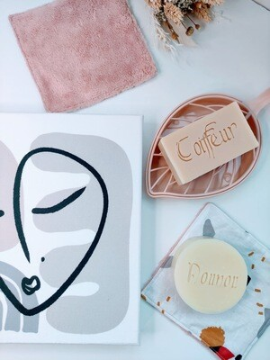 Box cadeau originale cosmétique bio, packaging réutilisable, toile visage