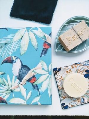 Box cadeau originale cosmétique bio, packaging réutilisable, toile jungle