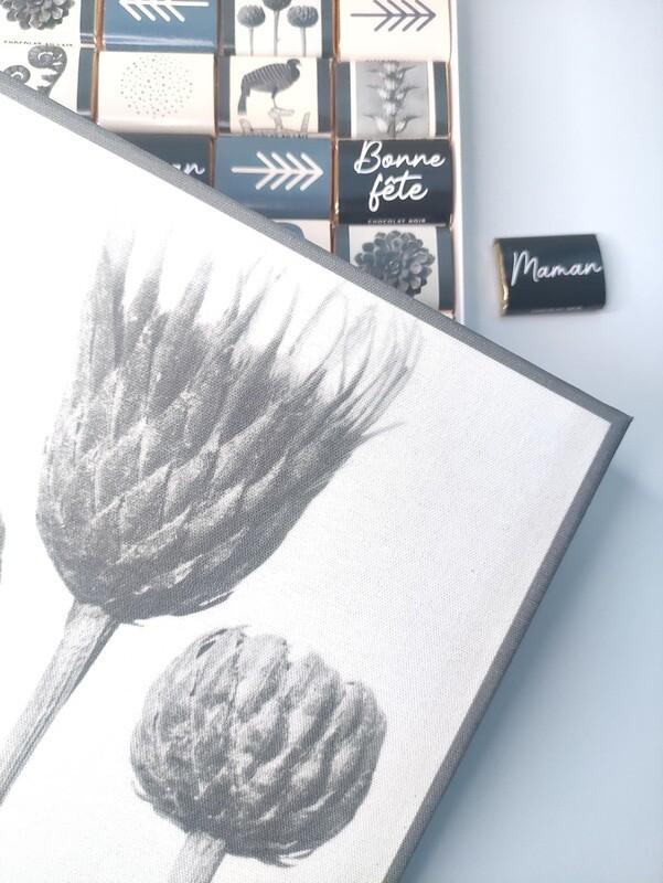 Chocolat & toile de tableau - modèle fleurs