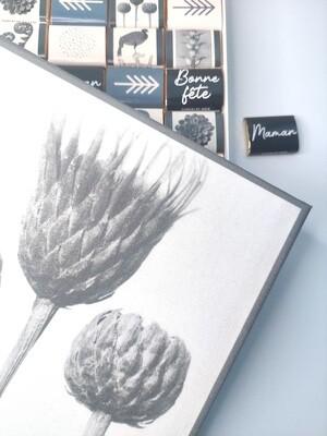 Boite de chocolat originale, packaging réutilisable, toile fleurs
