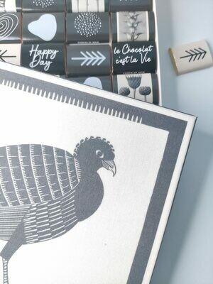 Boite de chocolat originale, packaging réutilisable, toile oiseau