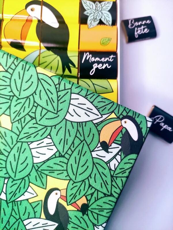 Boite de chocolat originale, packaging réutilisable, toile toucan