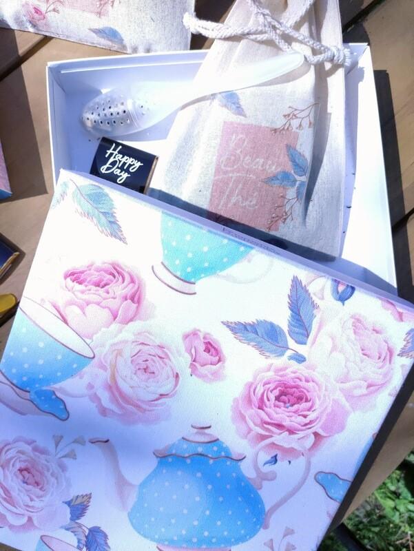 Box cadeau originale thé bio, packaging réutilisable, toile tea time