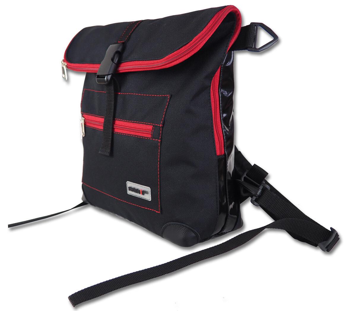 Gepäckträgertasche Radl-Ivy, die Kleine, PES/PVC-Plane-schwarz-schwarz-rot