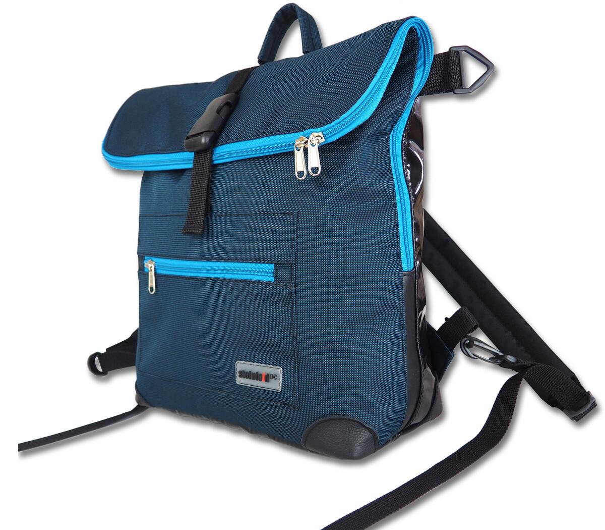 Gepäckträgertasche Radl-Ivy, die Kleine, PES/PVC-Plane-schwarz-türkis (petrol)