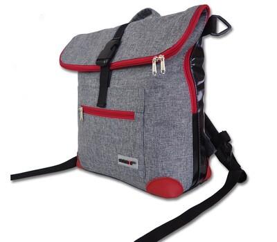 Gepäckträgertasche Radl-Ivy, die Große, PES/PVC-Plane-hellgrau-schwarz-rot
