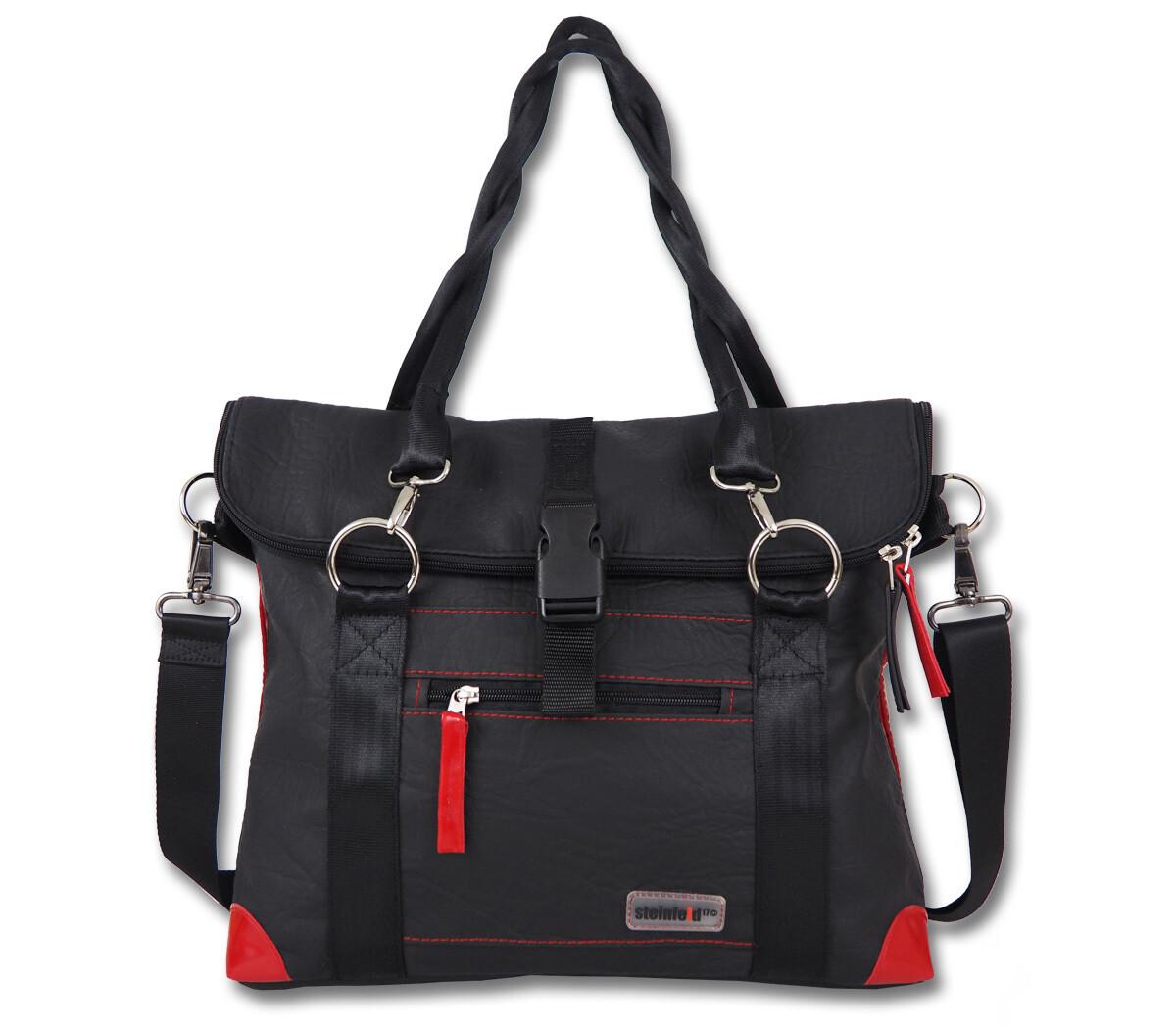 Gepäckträgertasche Radl-Iris, KL/PVC-Plane-schwarz-rot