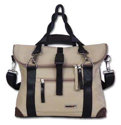 Gepäckträgertasche Radl-Iris, KL/PVC-Plane-beige-schwarz