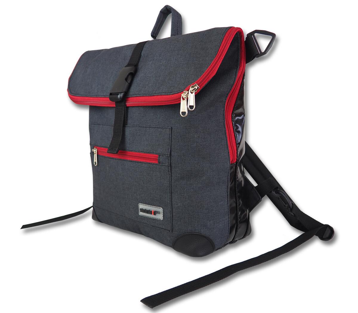 Gepäckträgertasche Radl-Ivy, die Große, PES/PVC-Plane-anthrazit-schwarz-rot