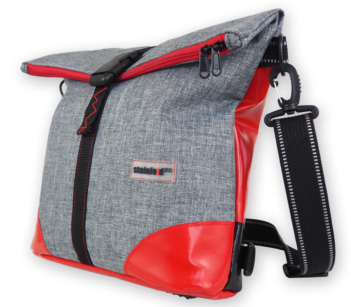 Gepäckträgertasche Polarosa, die Kleine, PES-PVC-hellgrau-rot