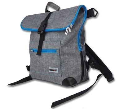 Gepäckträgertasche Radl-Ivy, die Große, PES/PVC-Plane-hellgrau-schwarz-türkis