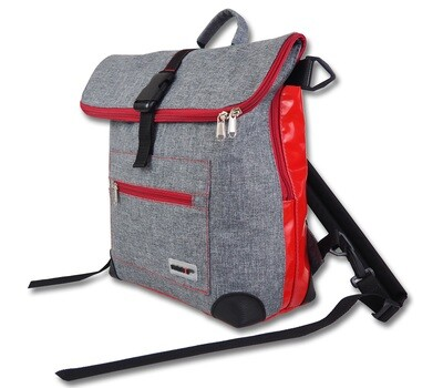 Gepäckträgertasche Radl-Ivy, die Große, PES/PVC-Plane-hellgrau-rot