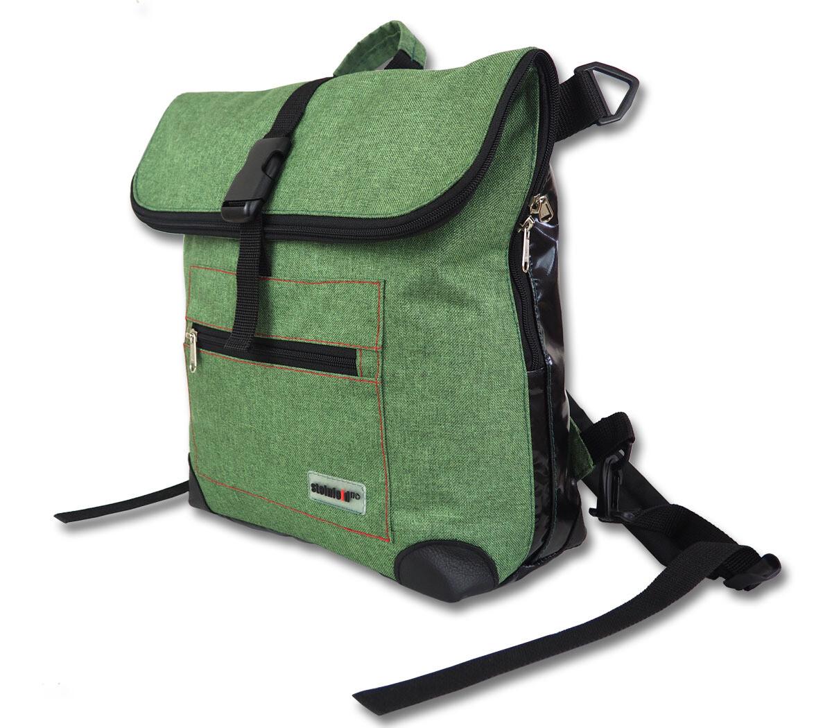 Gepäckträgertasche Radl-Ivy, die Große, PES/PVC-Plane-grün-schwarz