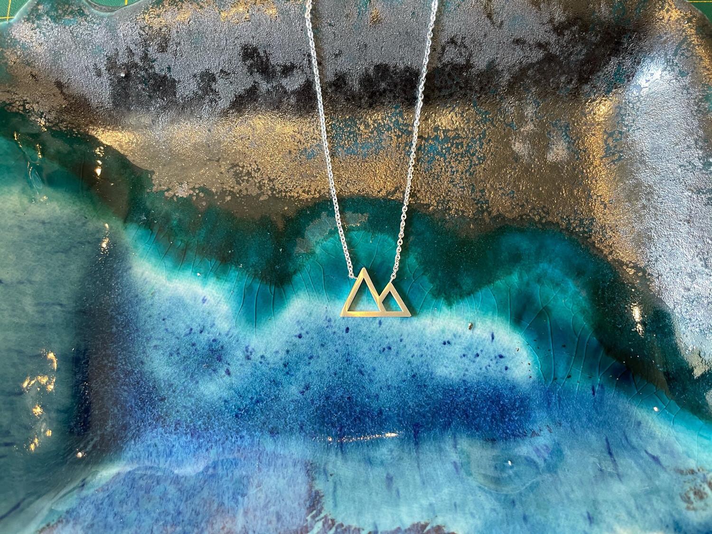 2 Peak Mountain Necklace - Stainless Steel