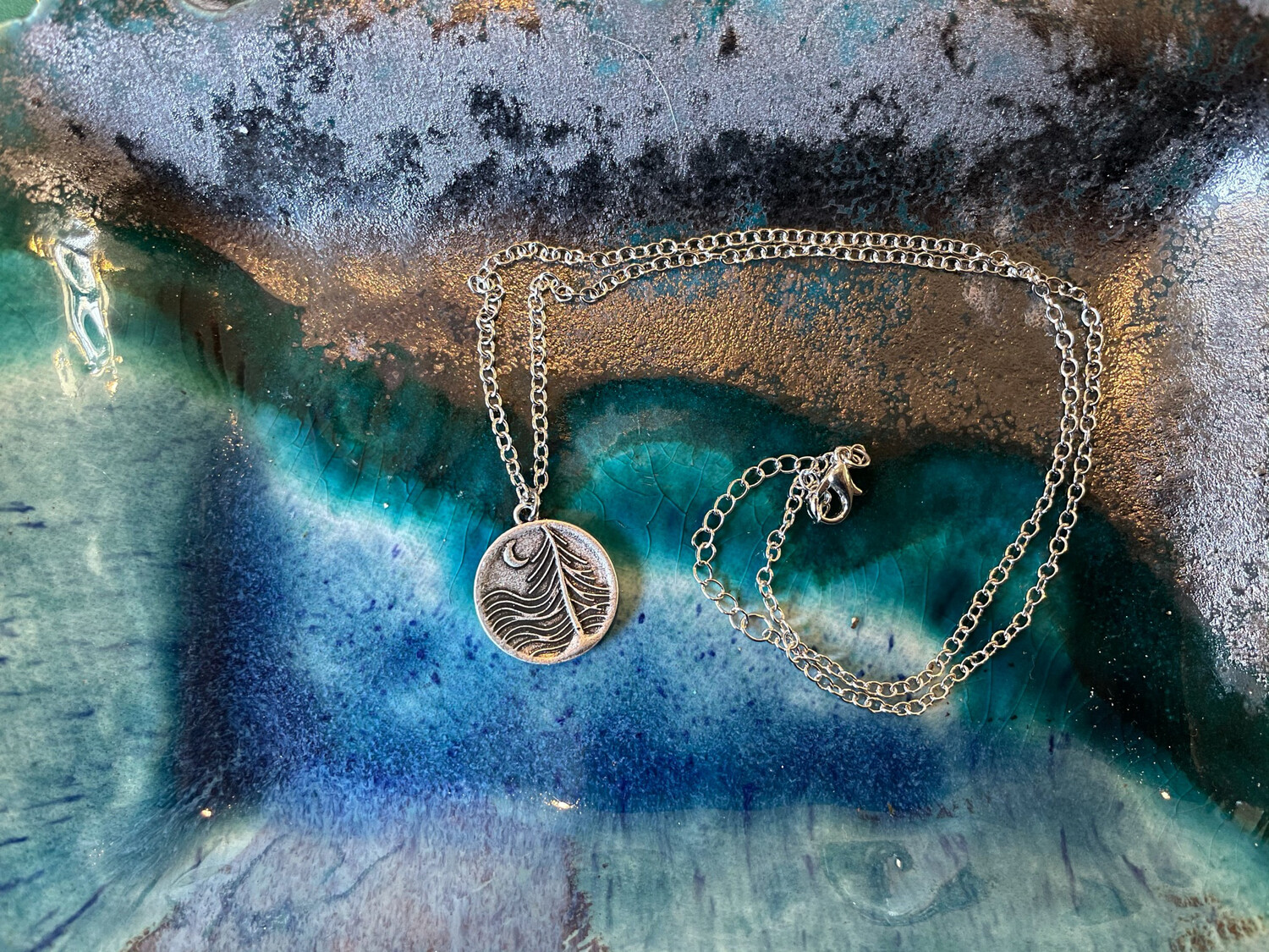 Trees, Wave, Moon Necklace - Silver