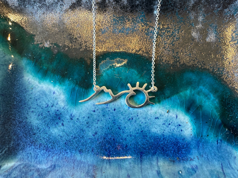 Tree, Wave, Sunset Necklace