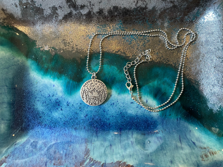 Happy Camper Round Necklace - Silver