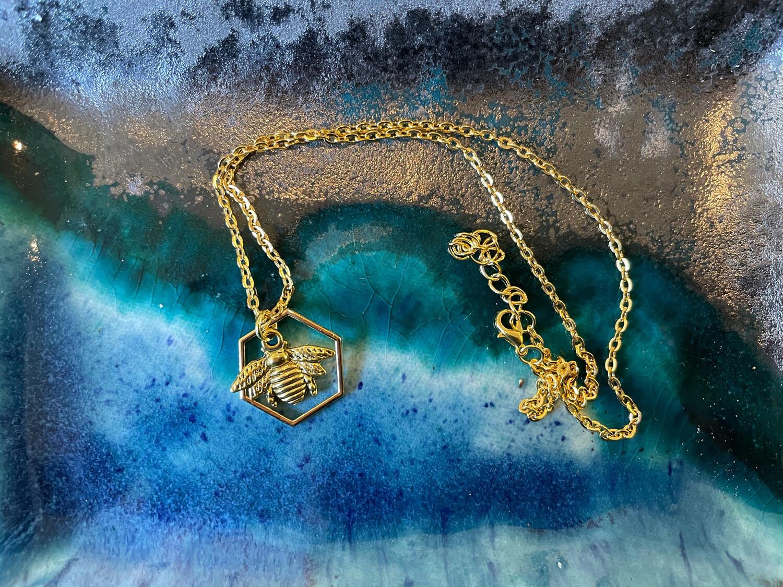 Golden Bee Hexagon Necklace