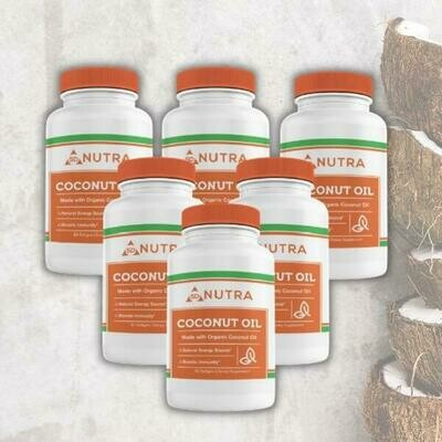 Organic Coconut Oil 60 Softgels - 6 Bottles