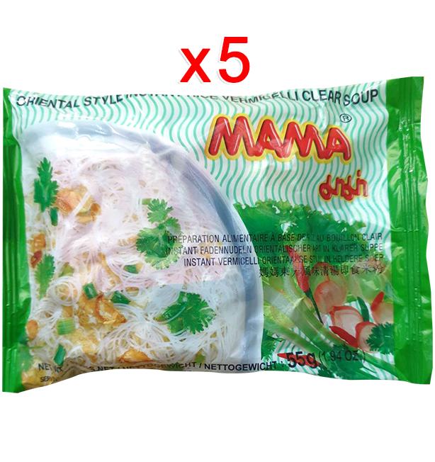 Instant Rice Vermicelli Clear Soup 55g (Pack 5)   เส้นหมี่กึ่งสำเร็จรูปน้ำใส 55g (Pack 5)