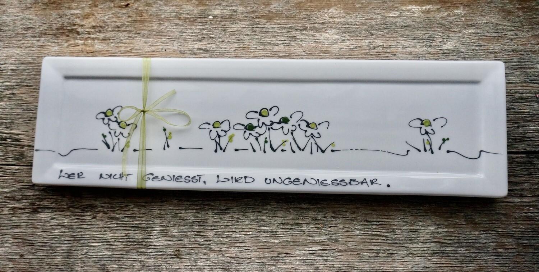 lange Porzellanplatte 40 mal 11 cm