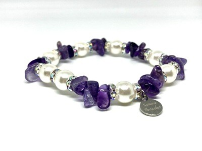 Amethyst Gemstone and Grade A.A. Natural Pearl bracelet. SKU00026