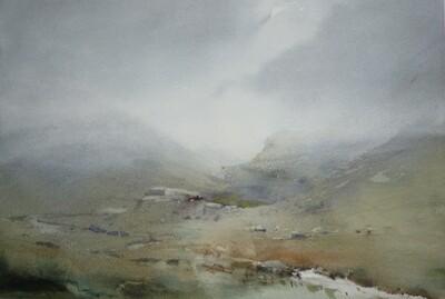 Honister Pass in mist, Cumbria