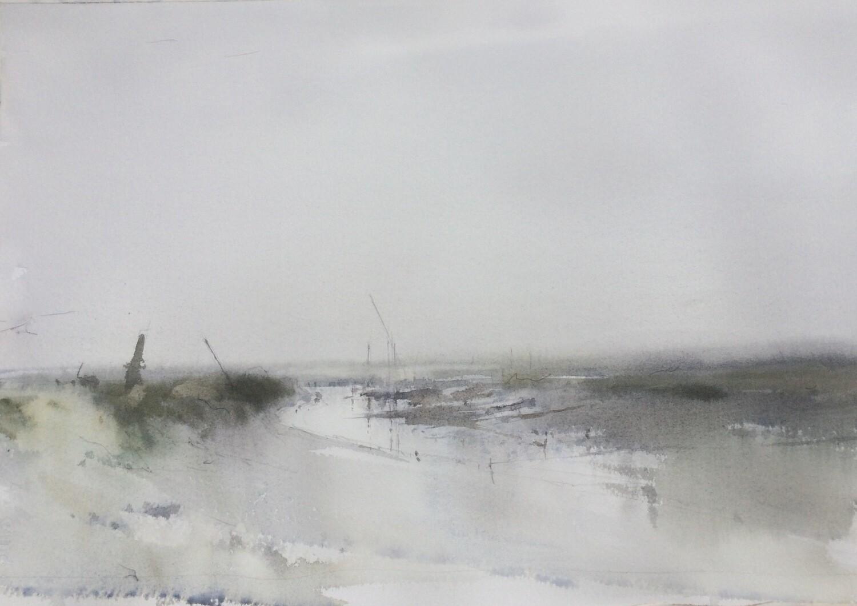 Morston Quay in fog, Norfolk