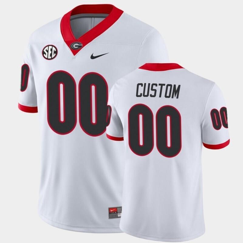 Georgia Bulldogs Custom Name and Number White College Football Away Game Jersey