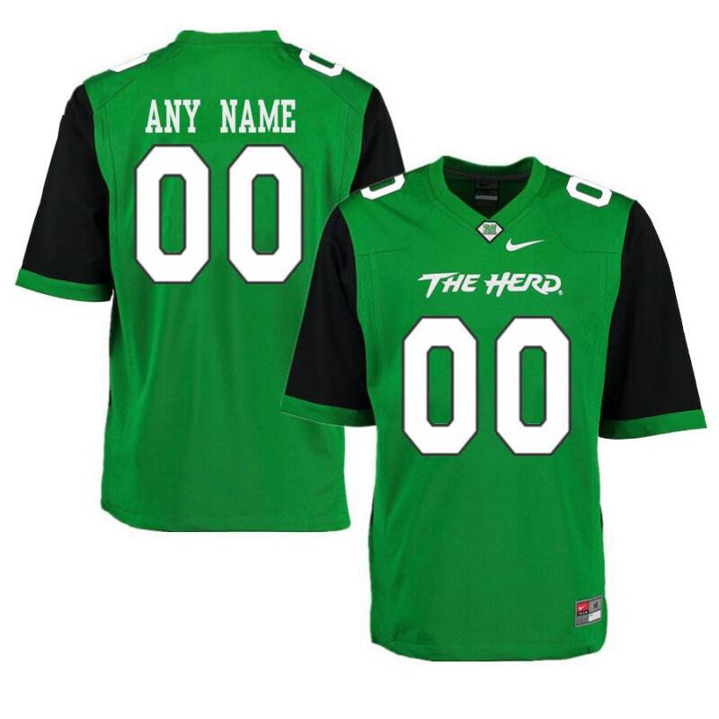 Marshall Thundering Herd Custom Name Number Football Jersey Green