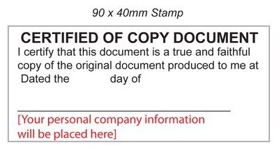Certified of Copy Document Stamp 40/90mm