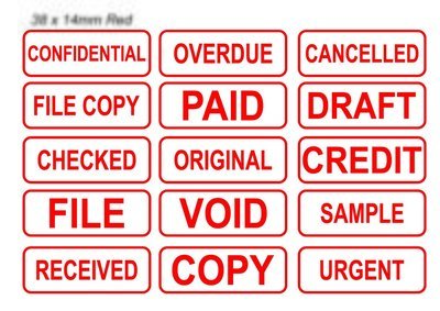 Office Stock Stamps (Red/Blue/Green or Black text) 38 x 14mm
