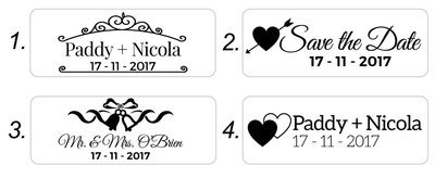 Wedding Stamps (Red/Blue or Black text) 60/22mm