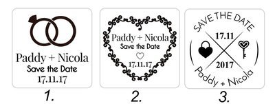 Wedding Stamps (Red/Blue or Black text) 40/40mm